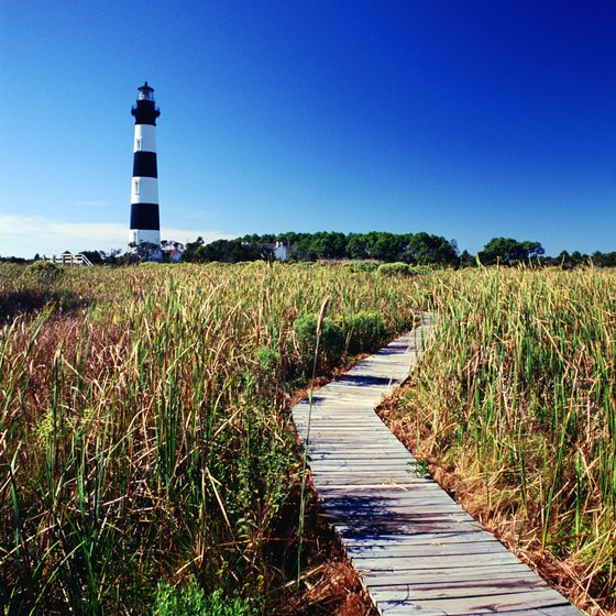 A boardwalk leads to the Bodie Island lighthouse on the Outer Banks.