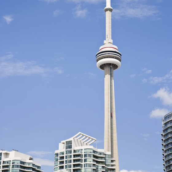 The CN Tower dominates the downtown skyline.