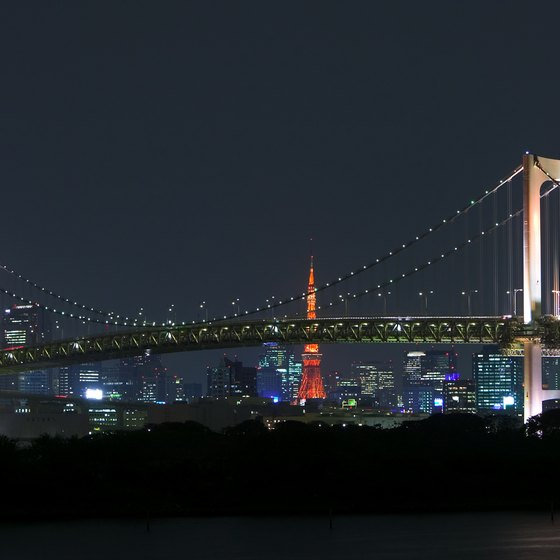 Striking night lights give the Rainbow Bridge its colorful moniker.