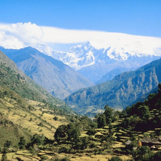 Foothills and Great Himalaya Range in Nepal.