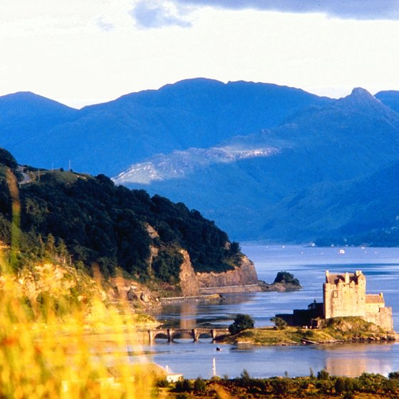 The Scotland Highlands are a rugged landscape formed by glaciers.