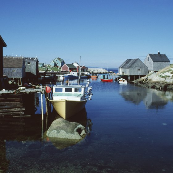Peggy's Cove in Halifax has many small boats and fishing houses.
