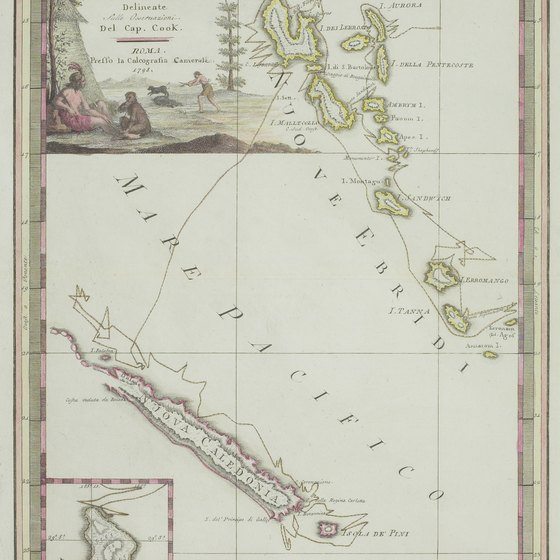A vintage map of New Caledonia.
