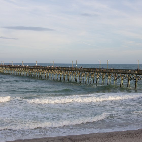 Surf City on Topsail Island contains a long pier jutting out into the Atlantic.