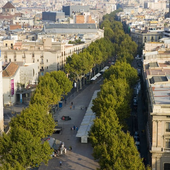 The Ramblas is a pedestrian-friendly street with many performers and vendors.