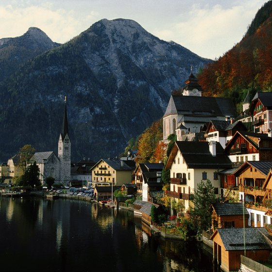 Hallstatt sits on the western shores of Lake Hallstatter.