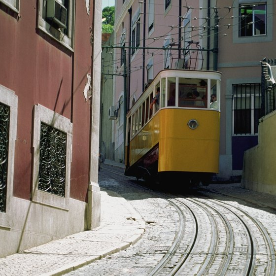 The winding, hilly streets of Lisbon.