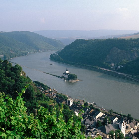 Rolling hills flank the shores of the Middle Rhine in Germany.