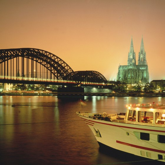 The Rhine River in Cologne, Germany.