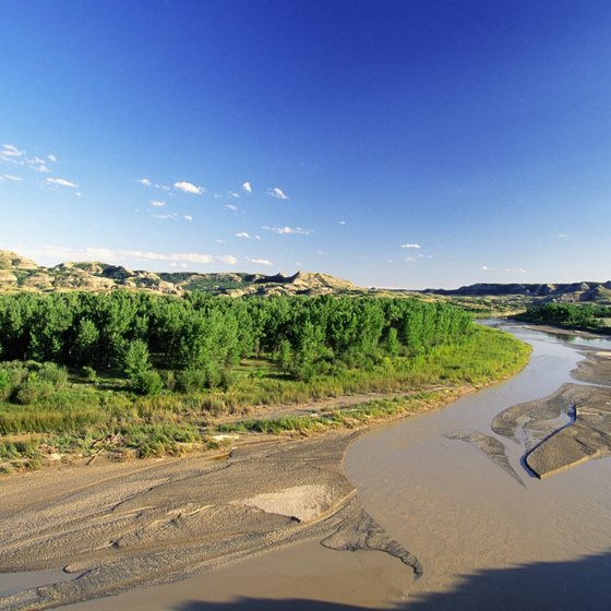 Sandy beaches on the Missouri River in North Dakota.