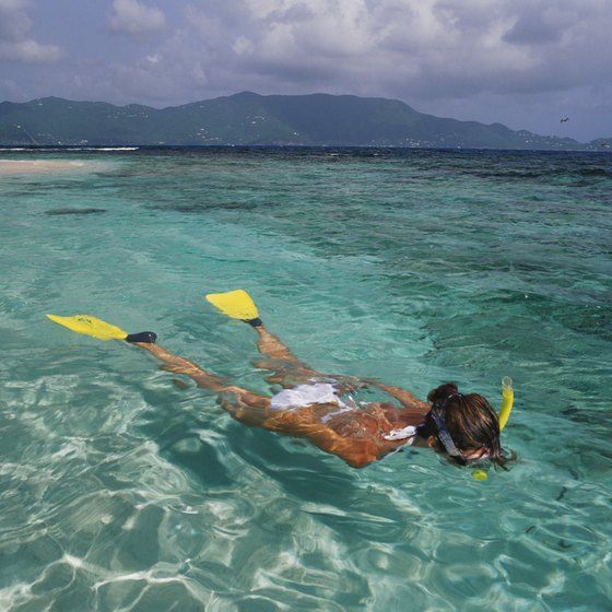 The crystal clear waters around Nassau are ideal for snorkeling.