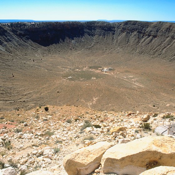 Metor Crater lies just south of I-40 in Winslow.