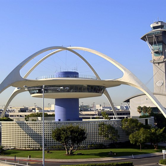 LAX's futuristic Theme Building welcomes air travelers to Los Angeles.