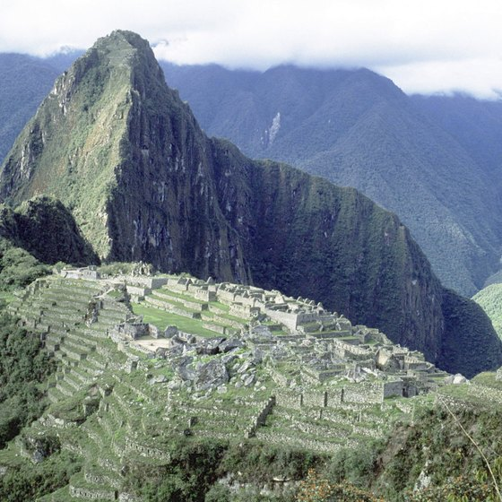 The ruins of Machu Picchu lie in the Peruvian Andes.