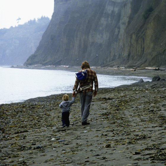 A father and son walk in the sand beneath the Palos Verdes cliffs.