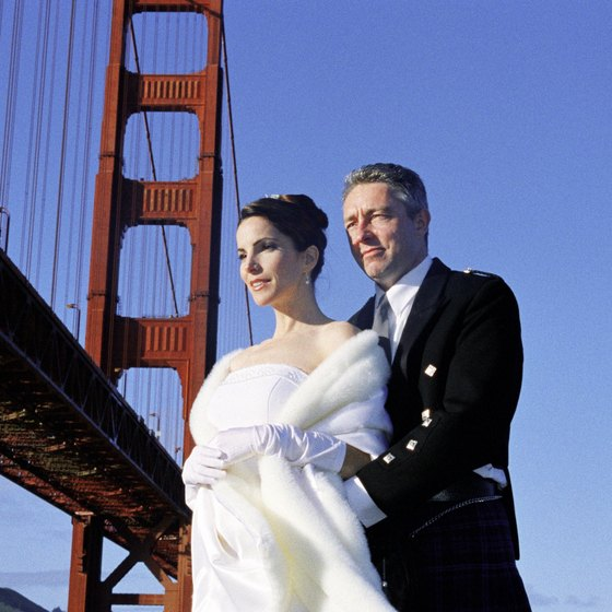 The Golden Gate Bridge is one of many Marin County photo opportunities for newlyweds.