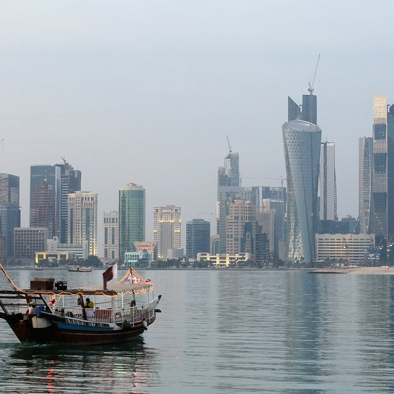 Small dhows are the principal boats used for pearling in Qatar.