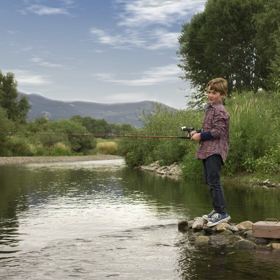 Many people enjoy trout fishing in the mountains.
