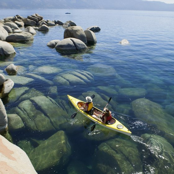 Honeymooners can take a ride in a kayak built for two on Lake Tahoe.