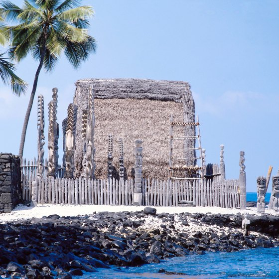 Recreated temple and rocky beach at Pu Uhonua O Honaunau National Historic Park.