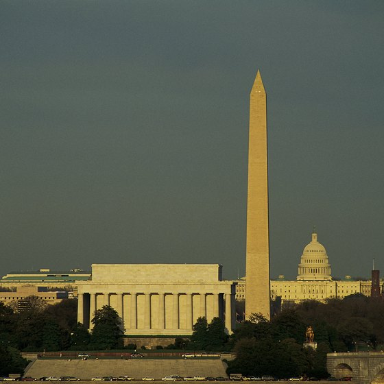 Potomac River cruises give views of Washington monuments.