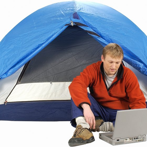 Some campgrounds offer wireless Internet service free.