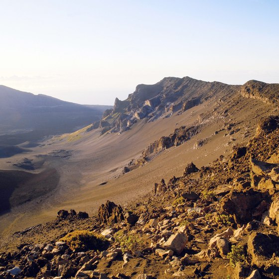 The rocky caldera of the Haleakala volcano.