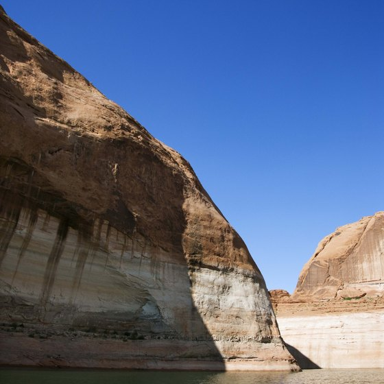 Snorkeling provides a view of Lake Powell's rock formations.