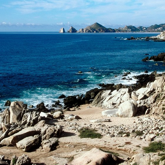 Jagged rocks prevent swimming in many areas of Cabo.