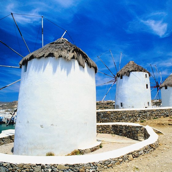 The thatched-roof windmills on the Mykonos waterfront are one of the island's most recognizable sights.