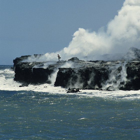 Lava flows to the sea from Kilauea Volcano on the Big Island.