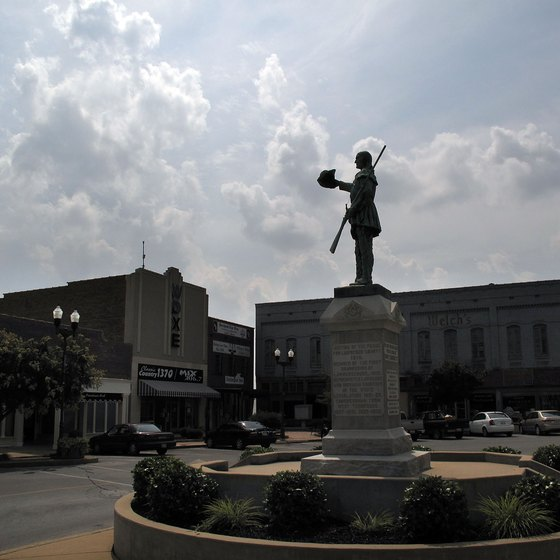 Tennessee's only statue of Davy Crockett stands in the Lawrenceburg town square.