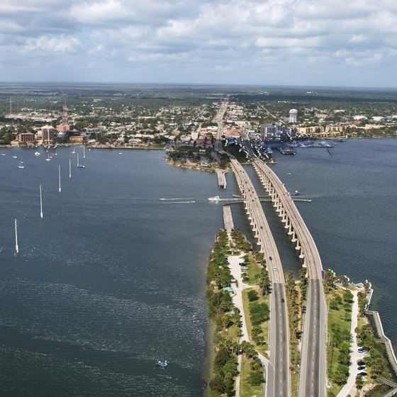 The western part of the Hubert Humphrey bridge in Titusville, Florida, passes over the Intracoastal.