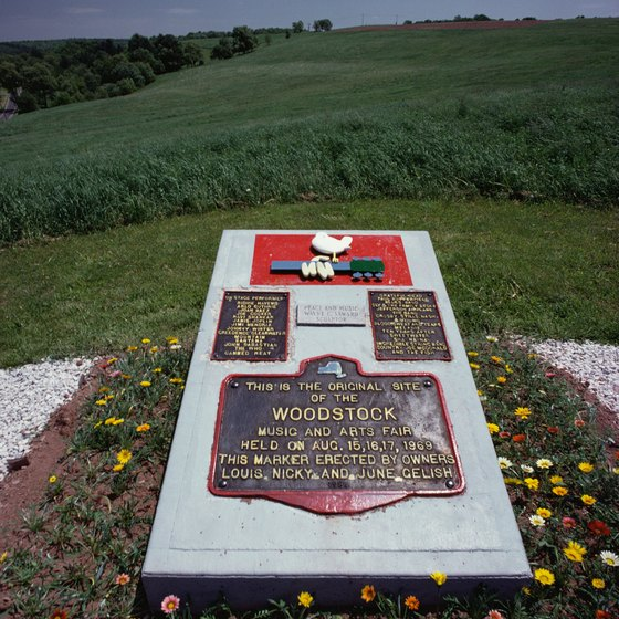 The Woodstock site is commemorated by a monument overlooking the field where it took place.
