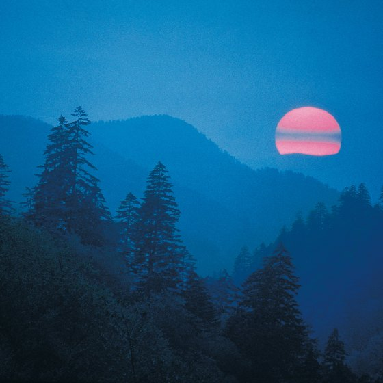 The sun sets over Great Smoky Mountains National Park.