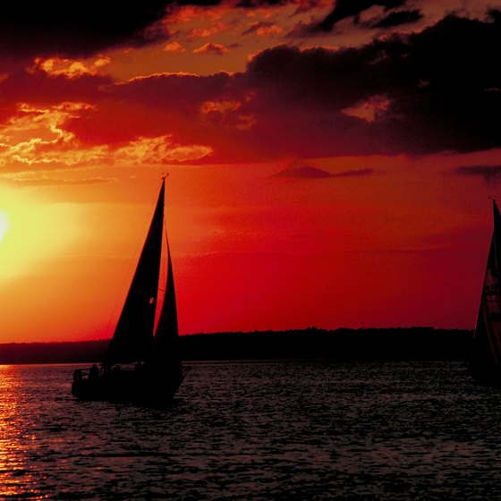 Destin visitors can rent catamarans for sunset sailing.