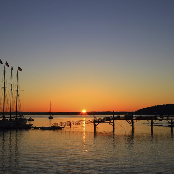 Sunrise puts boats at Bar Harbor, Maine, in stark relief.