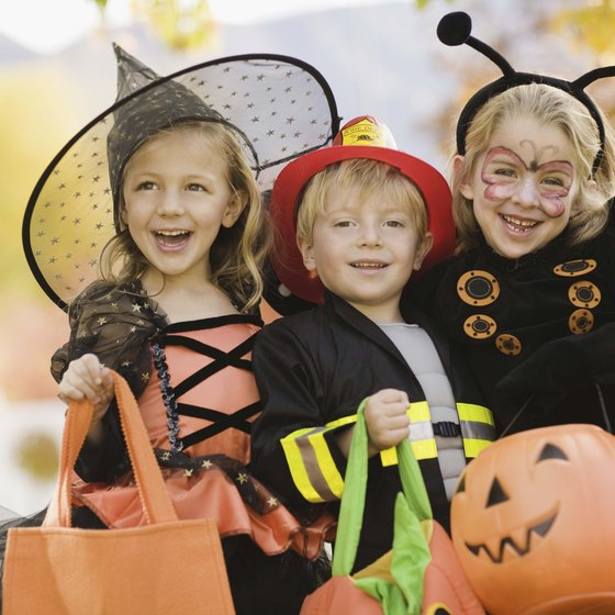 Children in costumes ready for a Halloween parade in Pennsylvania.
