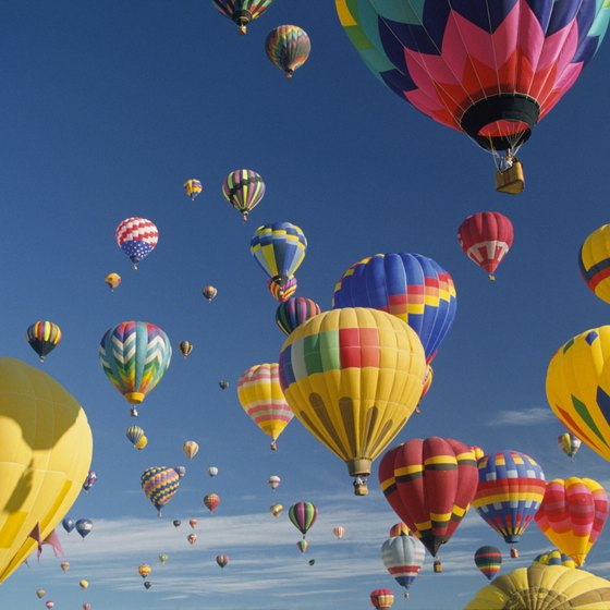 Hot air balloons take off en masse at the Colorado River Crossing Balloon Festival.