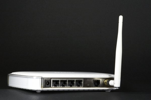 The antenna in a router sends and receives signals from computers.