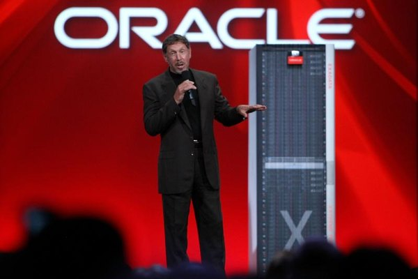 Larry Ellison, leader of Oracle, Inc., shares product updates at trade shows.