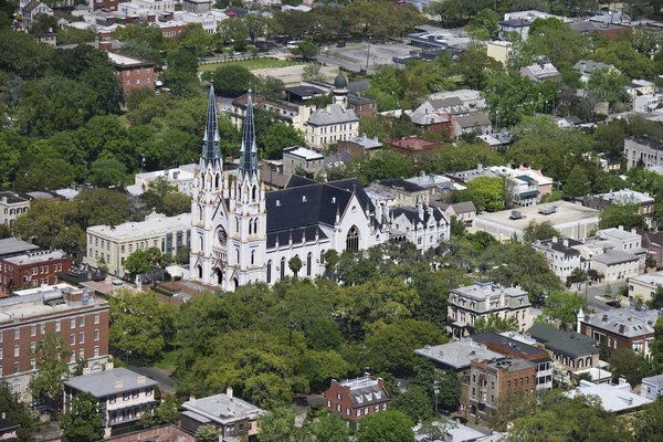 Aerial view of Cathedral of St John the Baptist, Savannah, Georgia