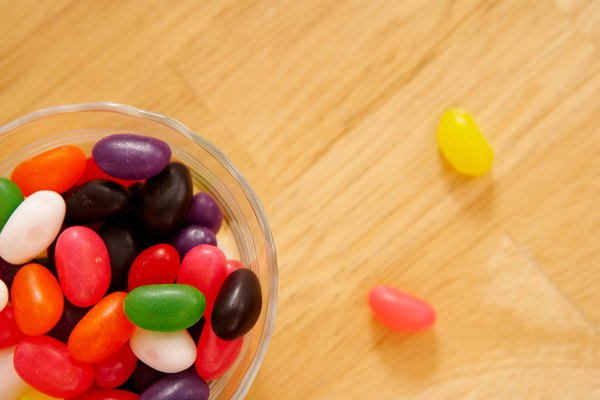 High angle view of bowl of jelly beans