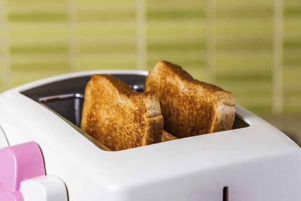 Closu up toast and pink Toaster