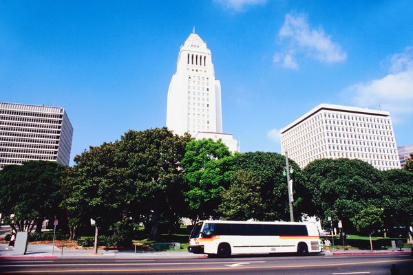 Street with bus and high rises in Los Angeles, California