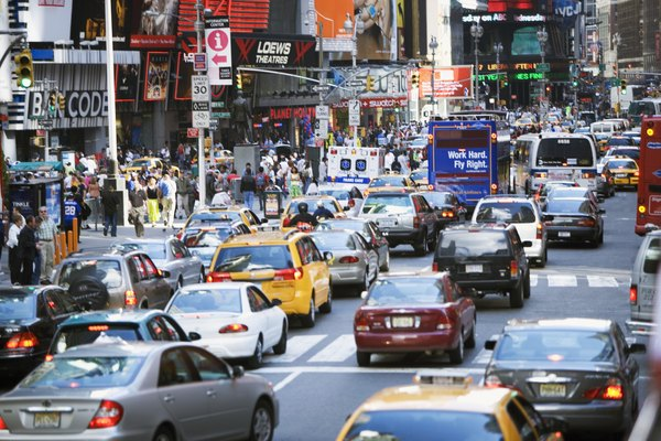 Rush hour in Times Square in New York City, NY, USA