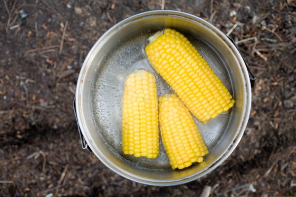 Corn cooking in pot