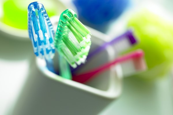 Toothbrushes in container
