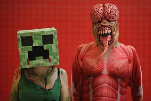 Minecraft's creeper, left, has become a symbol for the game.