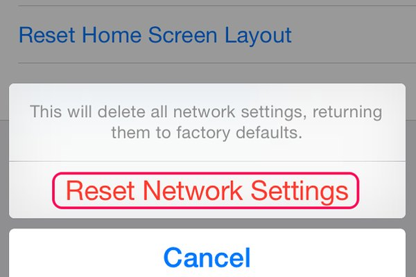 Select Reset Network Settings to confirm disconnection from current networks.